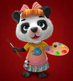 Panda artist. She-Panda artist holding brush and palette Stock Images