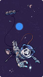 Panda the astronaut. Panda the astronaut is happy to find the small shining star in outer space Royalty Free Stock Photos