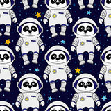 Panda astronaut and stars in space, seamless pattern Stock Image
