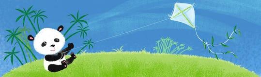 Panda auf dem Gras. Stockbilder