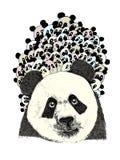 Panda avec de petits pandas sur le sien de retour Photos stock