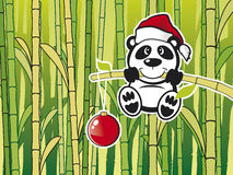 Panda with babmboo. Vector Panda with green babmboo background Royalty Free Stock Photos