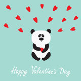 Panda baby bear. Cute cartoon character holding red heart.  Stock Images