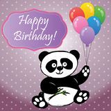 Panda with balloons and the inscription happy birthday Royalty Free Stock Image