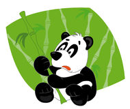 Panda and bamboo. Panda sits and keep bamboo Vector Illustration