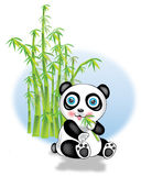 Panda and bamboo. Illustration of panda who eats bamboo with bamboo branches in background vector illustration