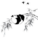 Panda on bamboo branch. And birds on white background Royalty Free Stock Photos