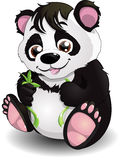Panda and bamboo. The cheerful panda eats a bamboo royalty free illustration