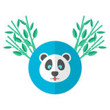 Panda and bamboo in flat style. Vector illustration Royalty Free Stock Photos