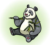 Panda and bamboo leaves Stock Photography