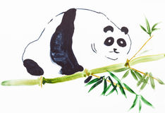Panda on bamboo trunk on white paper Royalty Free Stock Images