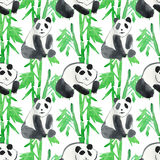 Panda with bamboo watercolor seamless pattern. Stock Photography