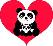 Panda bear. Two panda bears are sitting together in a big heart Royalty Free Stock Photography