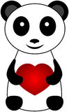 Panda Bear. One black and white panda bear with heart Stock Image