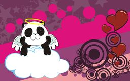 Panda bear angel cherub baby cartoon cloud background Stock Photo