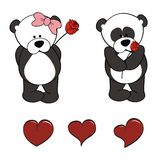 Panda bear baby cartoon valentine rose set Stock Image