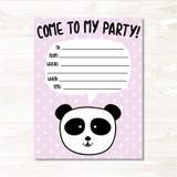 Panda bear birthday invitation card vector illustration