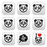 Panda bear buttons set - happy, sad, angry isolated on white Stock Photography