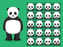 Panda Bear Cartoon Emotion affronta l'illustrazione di vettore Fotografia Stock