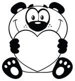 Panda Bear Cartoon Mascot Character in bianco e nero che tiene Valentine Love Heart Illustrazione di Stock