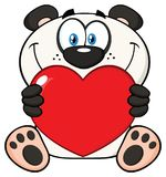 Panda Bear Cartoon Mascot Character de sourire tenant Valentine Love Heart illustration de vecteur