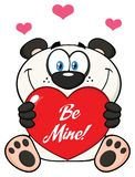 Panda Bear Cartoon Mascot Character mignon tenant Valentine Love Heart With Text soit moi illustration stock