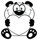 Panda Bear Cartoon Mascot Character noir et blanc tenant Valentine Love Heart illustration stock