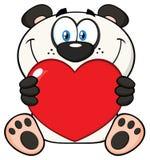 Panda Bear Cartoon Mascot Character sorridente che tiene Valentine Love Heart Illustrazione Vettoriale