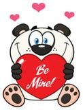Panda Bear Cartoon Mascot Character sveglio che tiene Valentine Love Heart With Text è me Illustrazione di Stock