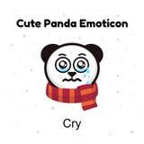 Panda Bear crying. A panda bear weeps. Illustration on a white background. Panda sad Emoji. Chinese bear sadness cry. Emotion. Emoji character cartoon Panda Stock Image
