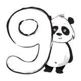 Panda bear cute animal number nine with cartoon baby illustration royalty free stock images