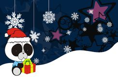 Panda bear cute cartoon xmas claus costume background Stock Photos