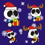 Panda bear cute cartoon xmas claus costume set Stock Image