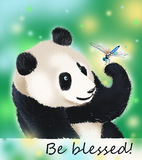 Panda bear and dragonfly blessing. Panda amazed at dragonfly beauty. It is so wonderful world! Be blessed Stock Images
