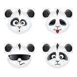 Panda bear emotion icons set Royalty Free Stock Image