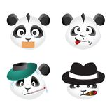 Panda bear emotion icons, vector design Stock Image