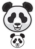 Panda Bear Faces. Illustration of panda bear faces in color and black and white Stock Photography