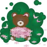 Panda bear with flowers on green Royalty Free Stock Photo