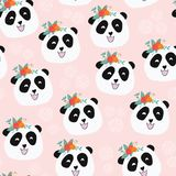 Panda bear with flowers seamless vector pattern royalty free illustration