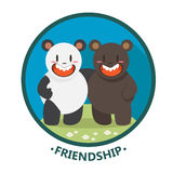 Panda and bear friendship Stock Images