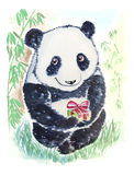 Panda bear with gift. Cute and smiling panda bear wishes you Happy birthday and gives a gift Stock Illustration