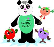Panda Bear with Healthy Fruits Stock Image