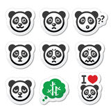 Panda bear icons set - happy, sad, angry  on white Stock Photography