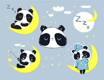 Panda Bear mignon dormant sur l'ensemble de lune Illustration de vecteur illustration libre de droits
