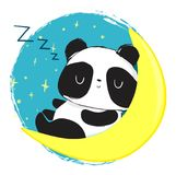 Panda Bear mignon dormant sur la lune Illustration de vecteur illustration stock