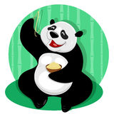 Panda bear with noodles Royalty Free Stock Image