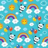 Panda bear rainbows clouds seamless pattern. Panda bear rainbows clouds sky kids seamless pattern Stock Photography