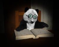 Panda Bear Read Book, Reading Illustration Stock Image