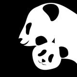 Panda bear silhouettes mother and baby vector illustration. White and black panda bear silhouettes mother and baby vector illustration stock illustration