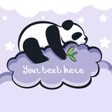 Panda bear sleeping on the cloud, vector illustration.  Royalty Free Stock Image